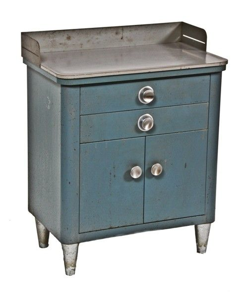 unique late 1940's vintage medical doctor examination room enameled steel supply cabinet