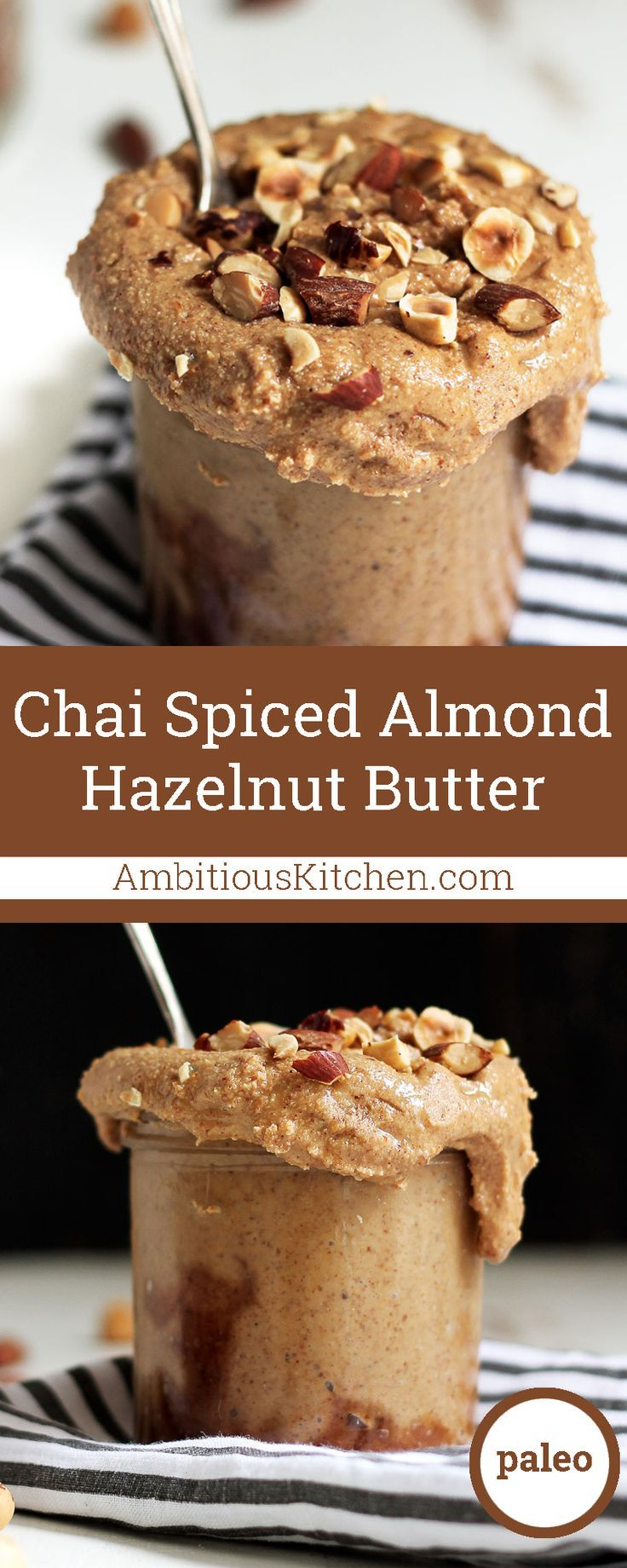 Chai spices make this almond hazelnut butter taste like your favorite chai tea latte. Spread it on toast or fruit for an easy, healthy snack!