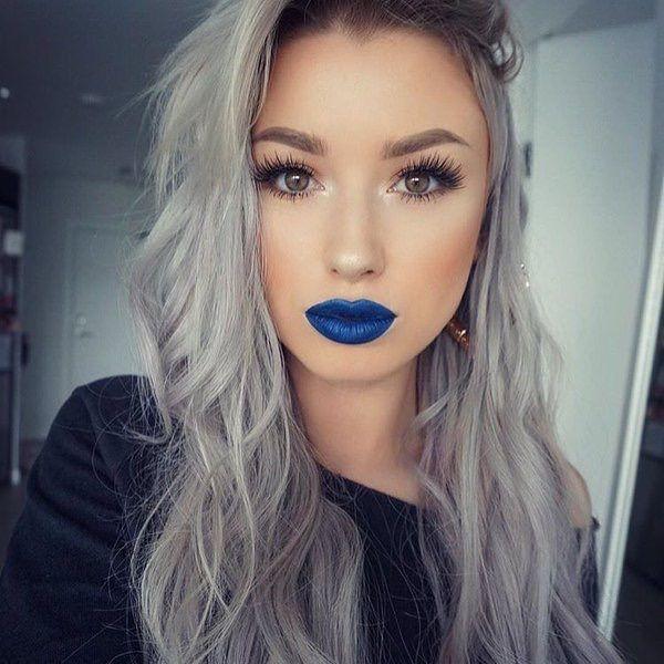 Makeup minus blue lipstick.
