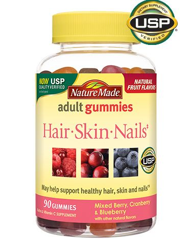 I've been taking Nature Made Hair, Skin Nails Adult Gummies for the past year or two, and I see a major difference in my skin and nails. My nails are stronger and my skin always looks great - soft and moist.