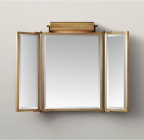 RHs Tri Fold Lit Wall MirrorA Gallery Picture Light Sits Atop The Adjustable Frame Of Our Three Panel Folding Mirror Bringing Even And A