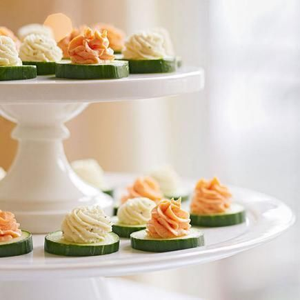 Cucumber Bites with Herbed Cheese and Salmon Mousse. Pretty AND delicious!