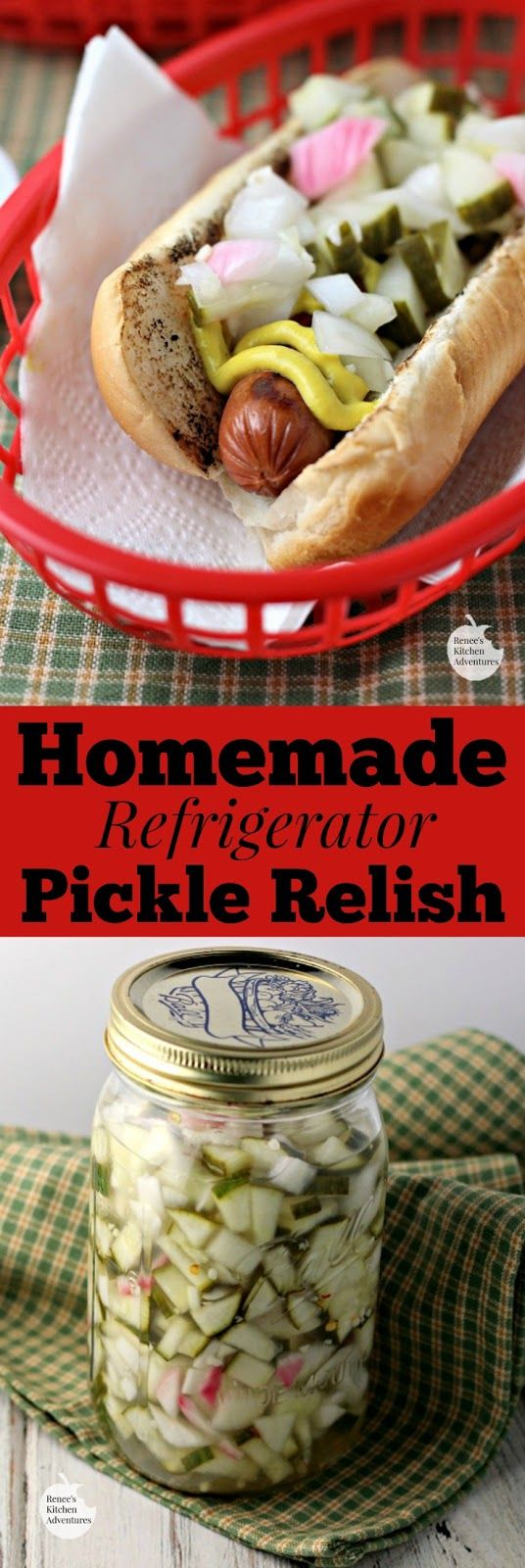 Homemade Refrigerator Pickle Relish | by Renee's Kitchen Adventures - quick and easy recipe for refrigerator pickle relish that makes a great topping for hot dogs, burgers and more!  Great homemade relish for your summer BBQ!  #SundaySupper  #RKArecipes