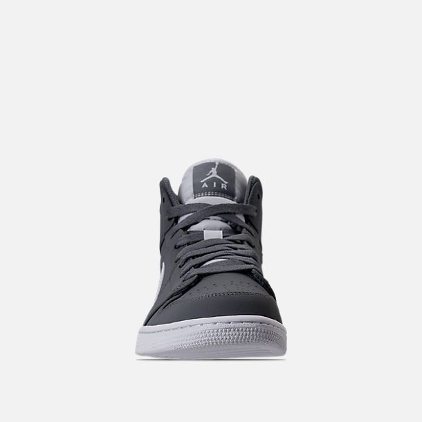 Front view of Men's Air Jordan Retro 1 Mid Retro Basketball Shoes in
