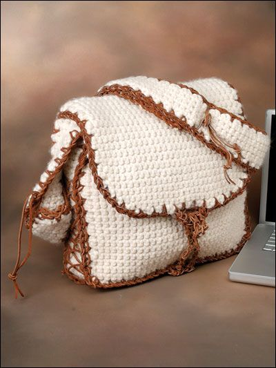 Crochet - Accessories - Crochet Handbag Patterns - Messenger Laptop Bag - #FC00956