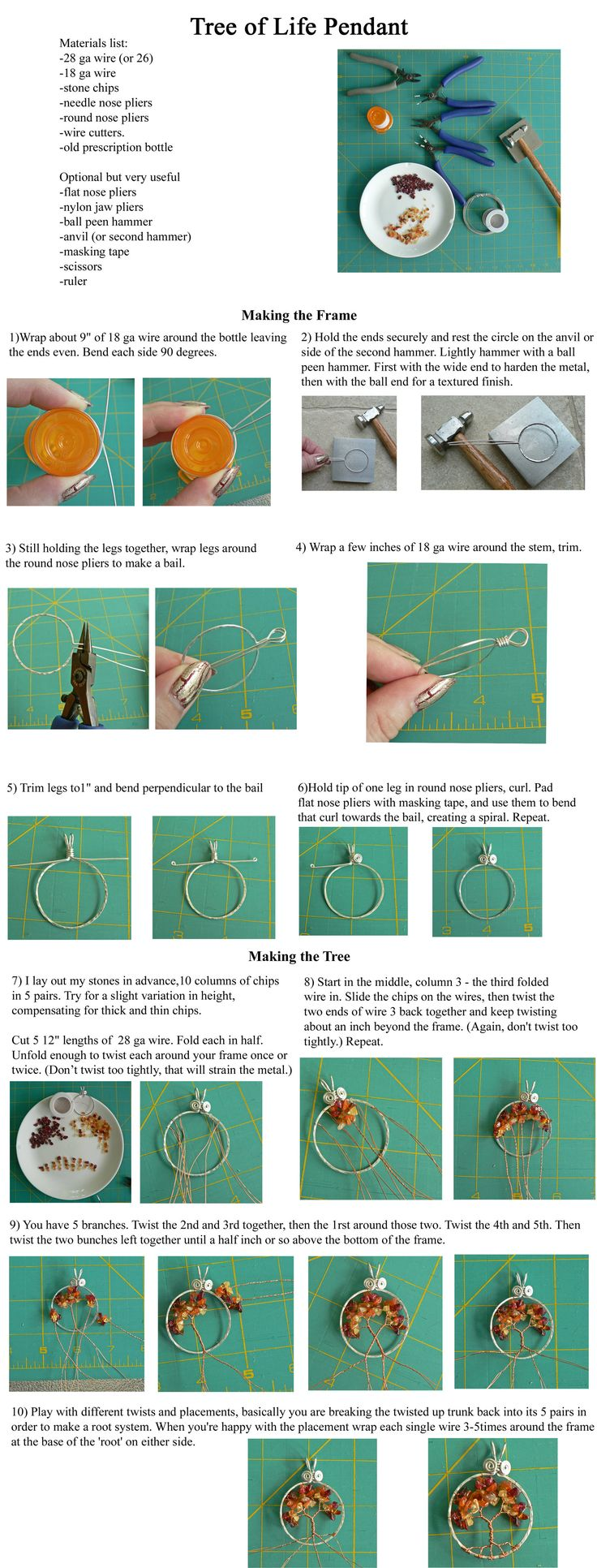 Pendant hoop and bail from 1 piece of 18 gauge wire! Simple Wire Wrap Tree Tutorial by ~magpie-poet on deviantART