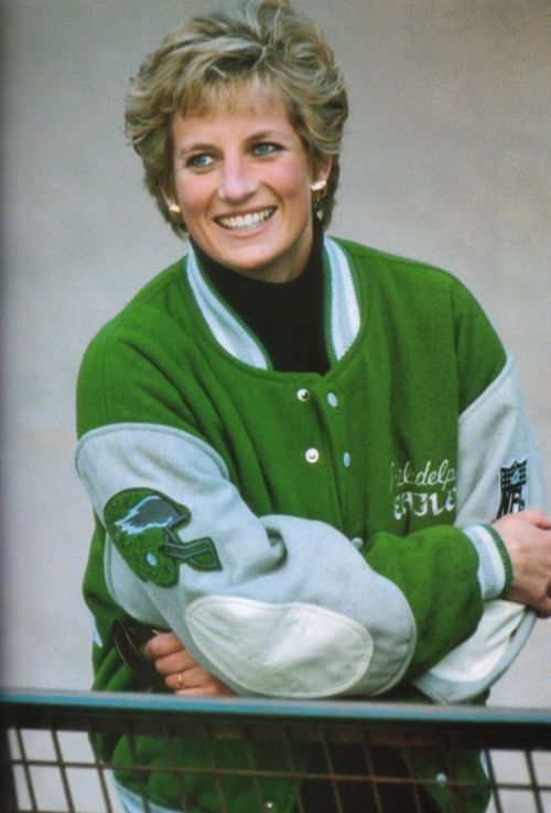 "Diana in a Philadelphia Eagles jacket. Apparently she ran into Jack Edelstein, at the time the statistician for the Philadelphia Eagles, just after the funeral of Grace of Monaco. The Princess mentioned that green and silver were here favorite colors, so Edelstein promised to send heri some Eagles gear. He told the Daily News in 1997, ""we … sent her a beautiful Eagles jacket, made for her."""
