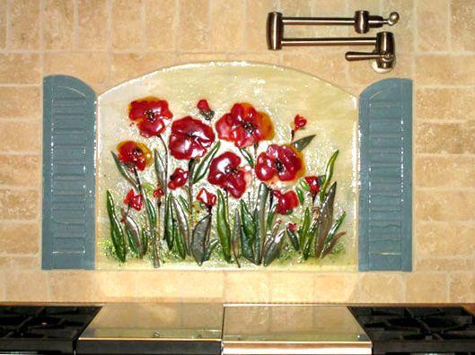 Floral Kitchen Backsplash (Poppies and Shutters) by Designer Glass Mosaics