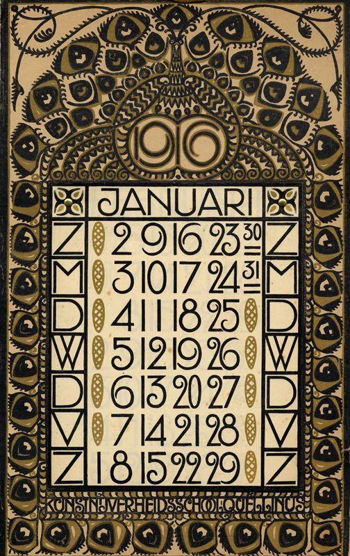 Art Nouveau Dutch calendar page, January 1916.   JV
