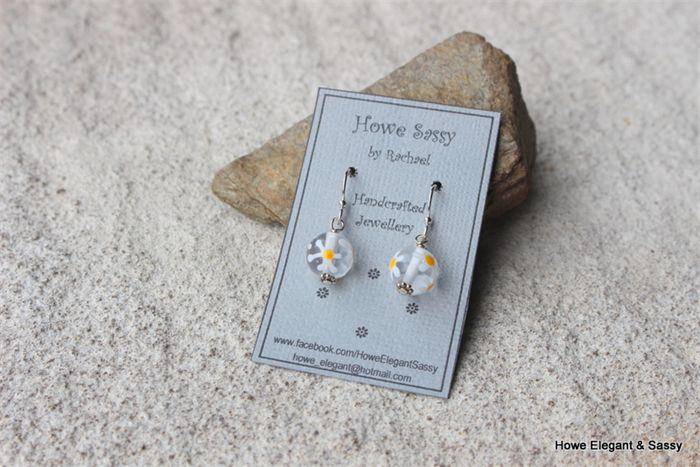 Handmade Czech Glass with Daisy, Sterling Silver, dangle earring