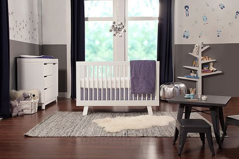 Babyletto Hudson 3-in-1 Convertible Crib  Delight in mid-century modern appeal with the Hudson 3-in-1 Convertible Crib. Stylish rounded spindles bring a simple charm, and give the Hudson Crib an open, radiant feel. The all-spindle sides let you keep an eye on baby from all angles, while four adjustable mattress positions allow you to maximize comfort and safety for both you and baby.