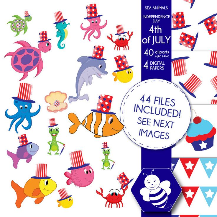 Independence Day Sea Animals CL0025 by Sweetdesignhive on Etsy