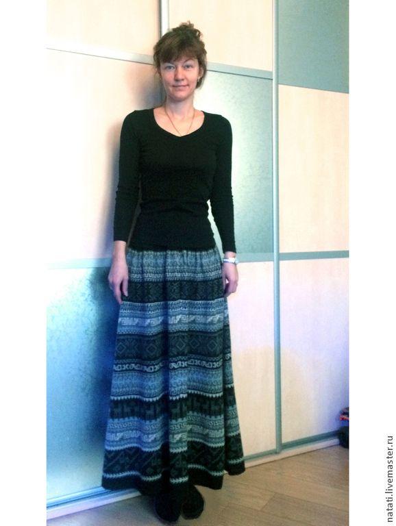 Купить Юбка макси широкая черно-белая - юбка вязаная, юбка макси, полушерсть