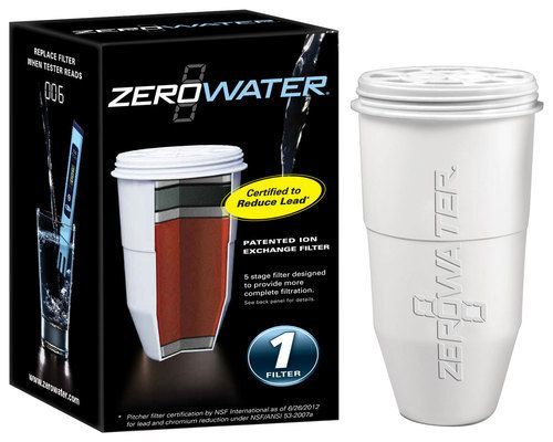 ZeroWater - Zero Water Replacement Filter (Single Pack) 5 Stage Ion Exchange Filters - White