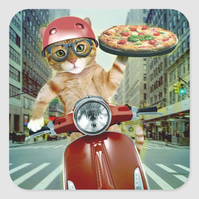 Pizza Cat Cat Pizza Delivery Square Sticker Zazzle Com Pizza Cat Cat Stickers Cat Birthday