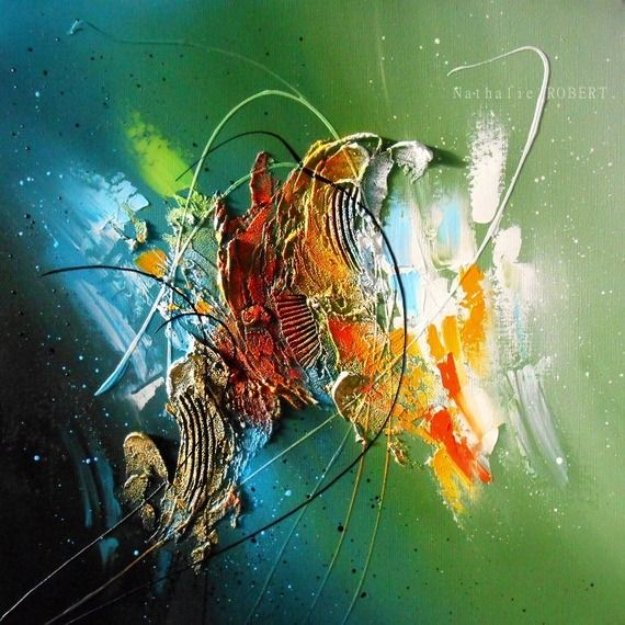 Célanéo - tableau abstrait moderne contemporain peinture acrylique en relief noir vert bleu blanc jaune orange doré