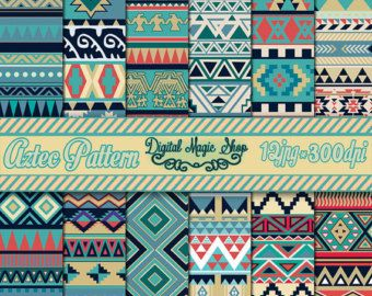 12 Seamless Black And White Aztec Digital Paper, Ikat, geometric pattern, native…