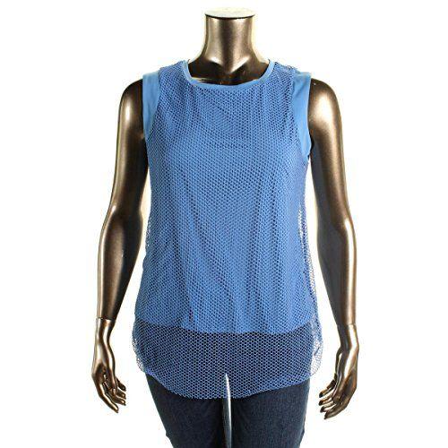 Alfani 8152 Womens Matte Jersey Mesh Overlay Tank Top Shirt Plus Bhfo