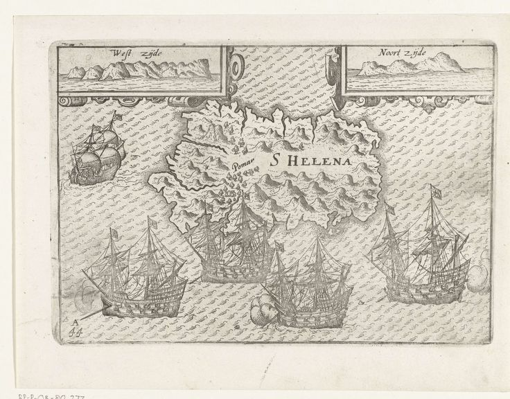 Anonymous | Kaart van Sint-Helena, 1597, Anonymous, 1597 - 1598 | Kaart van Sint-Helena, aangedaan op de terugreis in 1597. Bij het eiland liggen vier Portugese schepen voor anker. Bovenaan in twee cartouches het profiel aan de westzijde en aan de noordzijde. Afdrukken van de opgewerkte platen voor de oorspronkelijke illustraties in het reisverslag van de Eerste Schipvaert van Cornelis de Houtman naar Oost-Indië in 1595-1597. No. 44A.