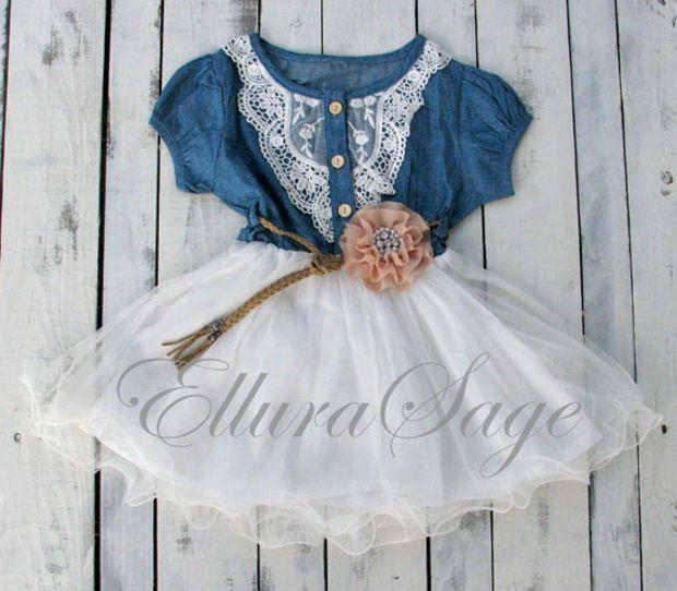 Flower Girl Dress, Denim Flower Girl Dress, cowgirl tutu dress,  Rustic Flower Girl Dress, western baby dress, Cowgirl Birthday Baby Dress