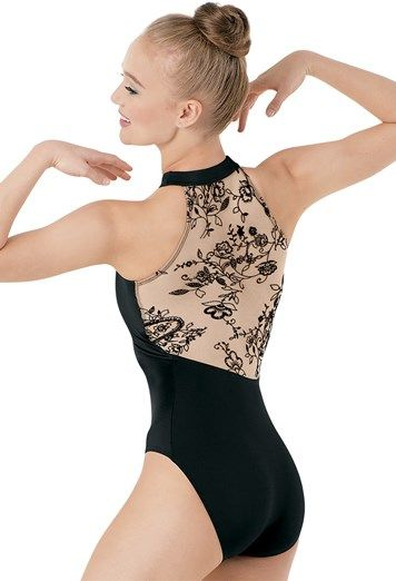 Add depth and dimension to any dance routine with this Flocked Halter Leotard exclusively from Dancewear Solutions: