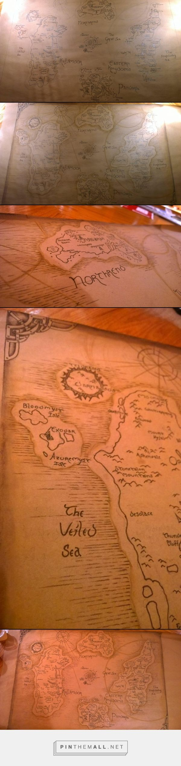 map of Azeroth from the mmorpg World of Warcraft. outlines and names done in ink and the horizontal lines in the ocean are brown colored pencil, the smudging on the sides of the paper and the big circles on the map are watercolor pencil.