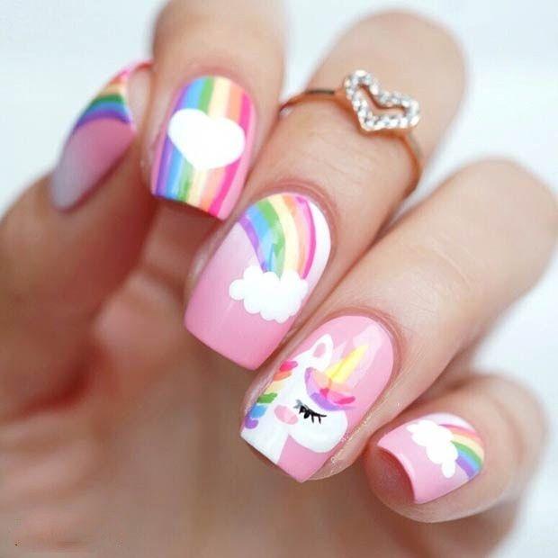 38 Magical Unicorn Nail Designs You Will Go Crazy For In 2020 Girls Nail Designs Kids Nail Designs Unicorn Nail Art