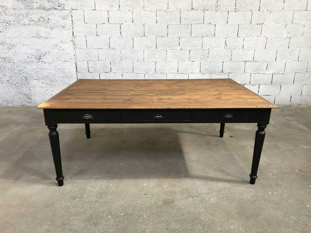 Large Dining Table Made Of Solid Wood Black Painted Structure