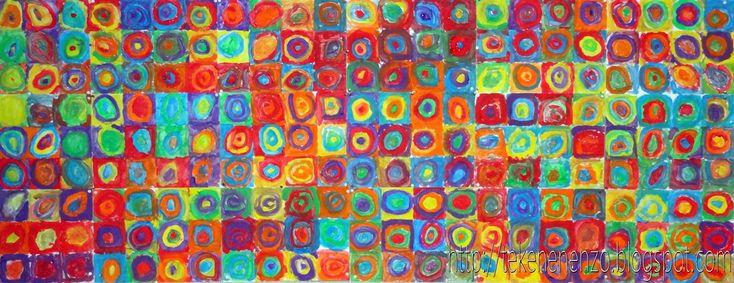 Tekenen en zo: Concentrische cirkels in de stijl van Kandinsky; lesomschrijving koppeling met muziek