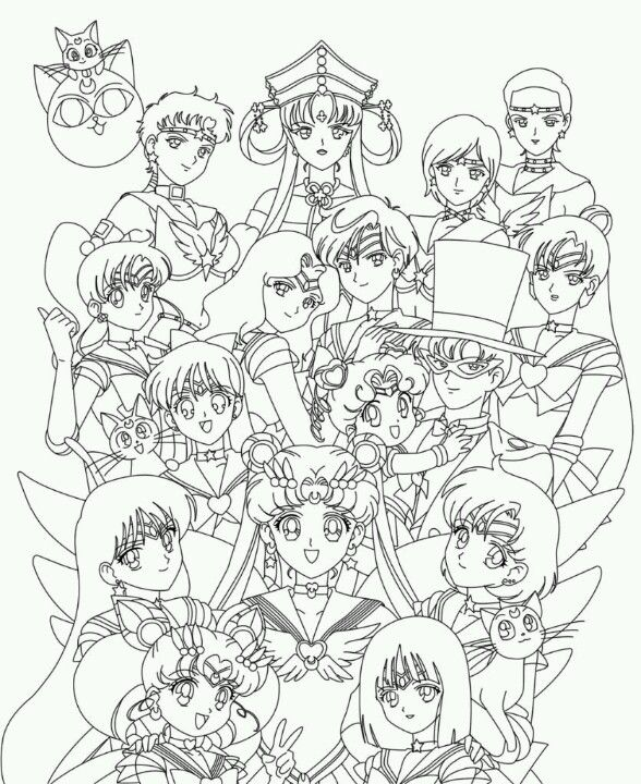 Pin by navi ely on sailor moon stars pinterest for Sailor moon group coloring pages