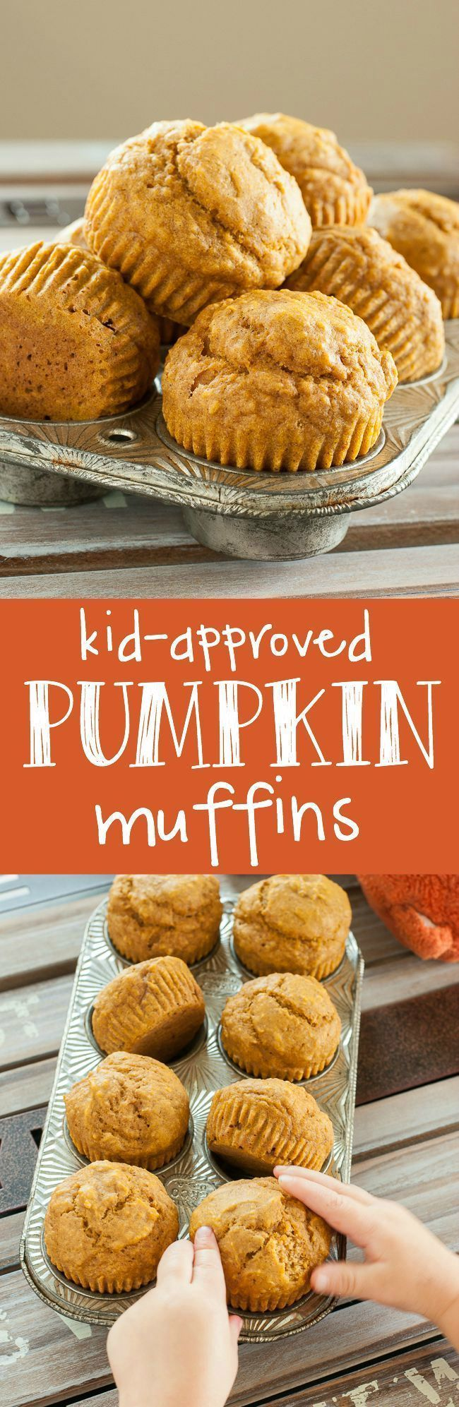 We absolutely LOVE these naturally sweet pumpkin muffins! Great for a grab and go breakfast or snack for kids and adults <3