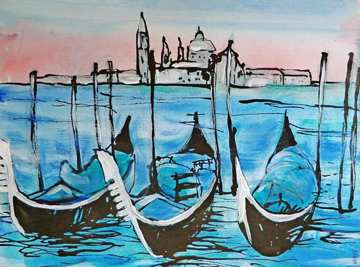 Venedig. Impression / Acryl & Aquarell, Tusche, 32 x 24 cm, 2015