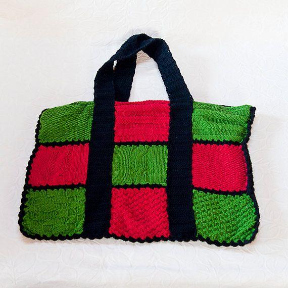 Three color handbag by OLIVINLOVE on Etsy