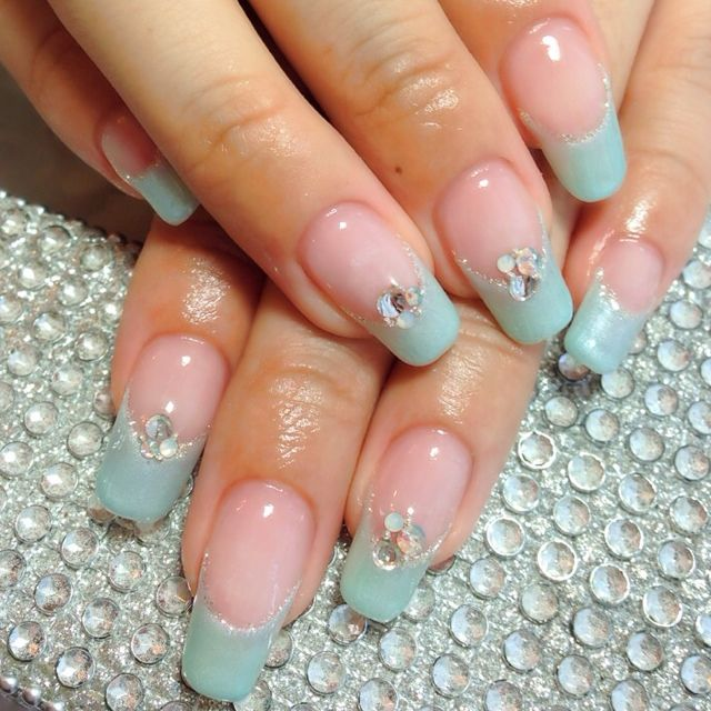 mint green french nail