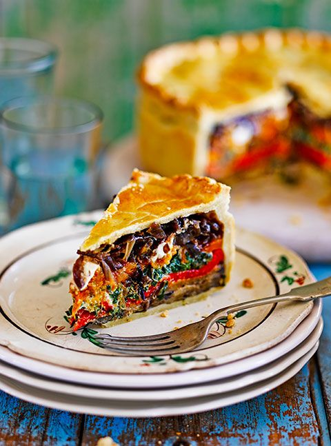 Vegetarian picnic pie on a plate