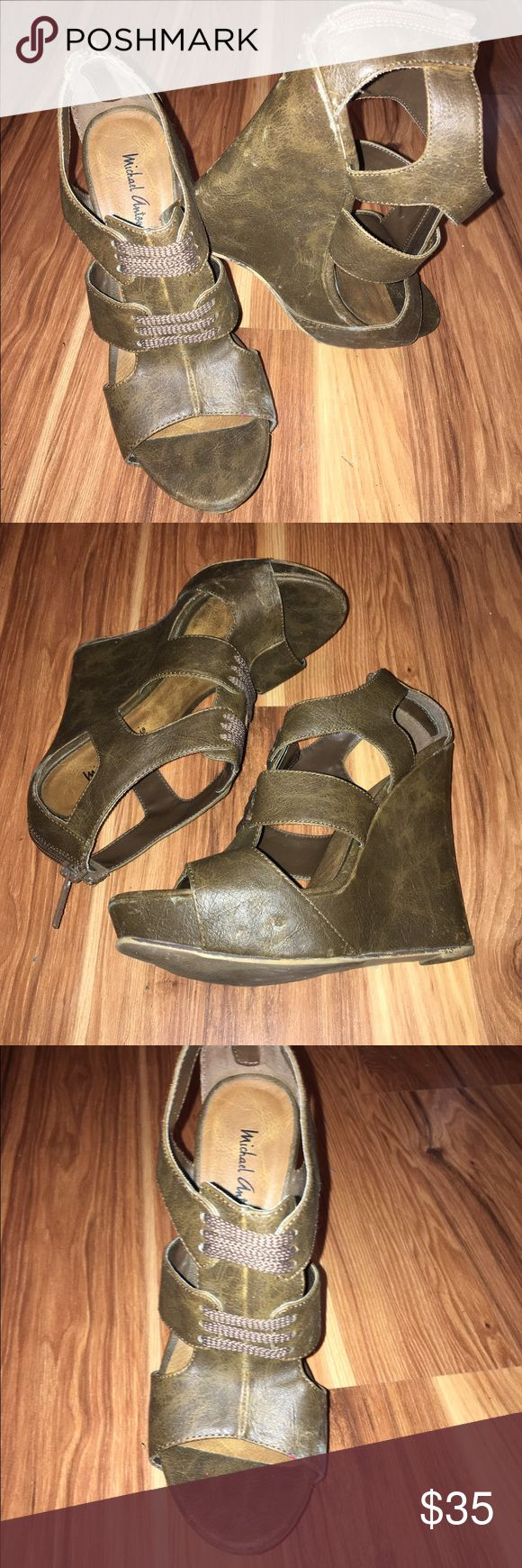 Michael Antonio Brown Casual Wedges These simple wedges offer a little comfort in height! Super comfortable and easy to pair with any summer dress! Michael Antonio Shoes