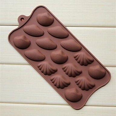15 buracos moldes forma da concha bolo sabão gelo geléia de chocolate, silicone 22 × 10,2 × 1,5 cm (8,7 × 4,0 × 0,6 cm) de 1722018 2016 por R$11,46