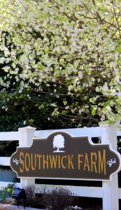 Entrance sign for Southwick Farmm Subdivision in Clayton, NC