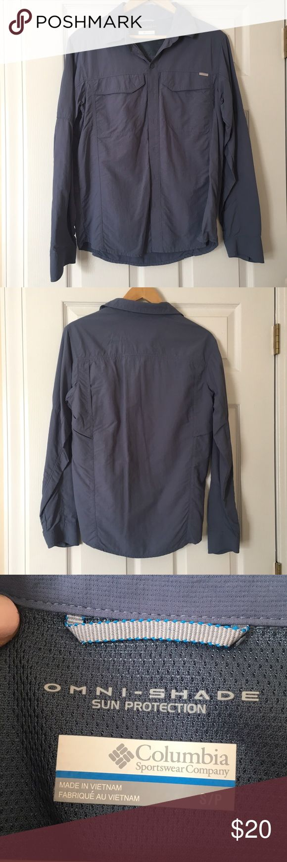 Slate Blue Columbia Fishing Shirt MENS SMALL!!! Worn as a cover up and with athletic shorts for fishing! Columbia Tops Tees - Long Sleeve