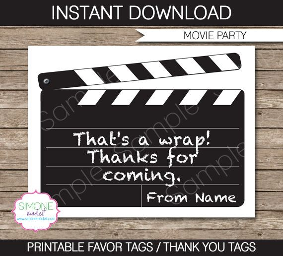 Movie Party Favor Tag or Thank You Tag - INSTANT DOWNLOAD and EDITABLE template - type your own text in Adobe Reader