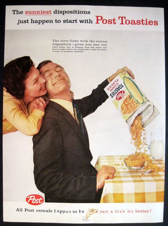 Kitchen Decor happy couple Post Toasties by VintageAllianceAds, $7.00