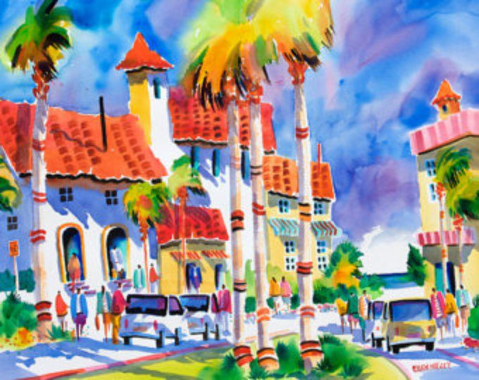 Venice Beach Florida Tropical Watercolor Print 5 X 7 8 X 10 11 X