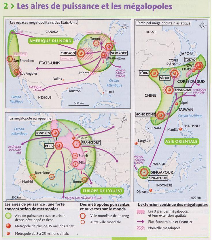 PBacPro-G3 : Les aires de puissance et les mégalopoles. (Source : votre manuel Hachette technique)