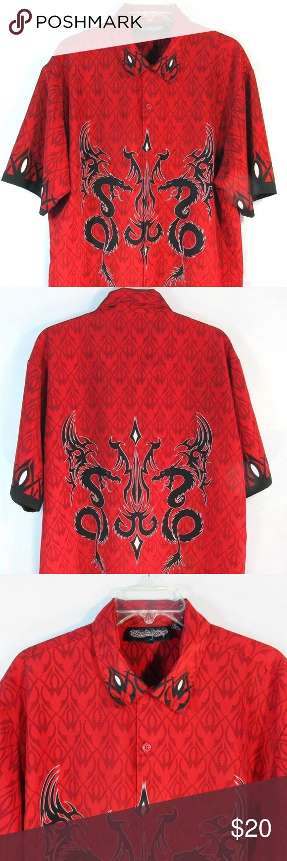"Sapphire Lounge Men's TRIBAL Shirt Red L Sapphire Lounge Men's L TRIBAL Shirt Red Button Down Short Sleeve. In good used condition. No rips or stains. (C29)  Measurements: Armpit to Armpit: 24"" Sleeve: 21"" Length: 30"" Sapphire Lounge Shirts Casual Button Down Shirts"