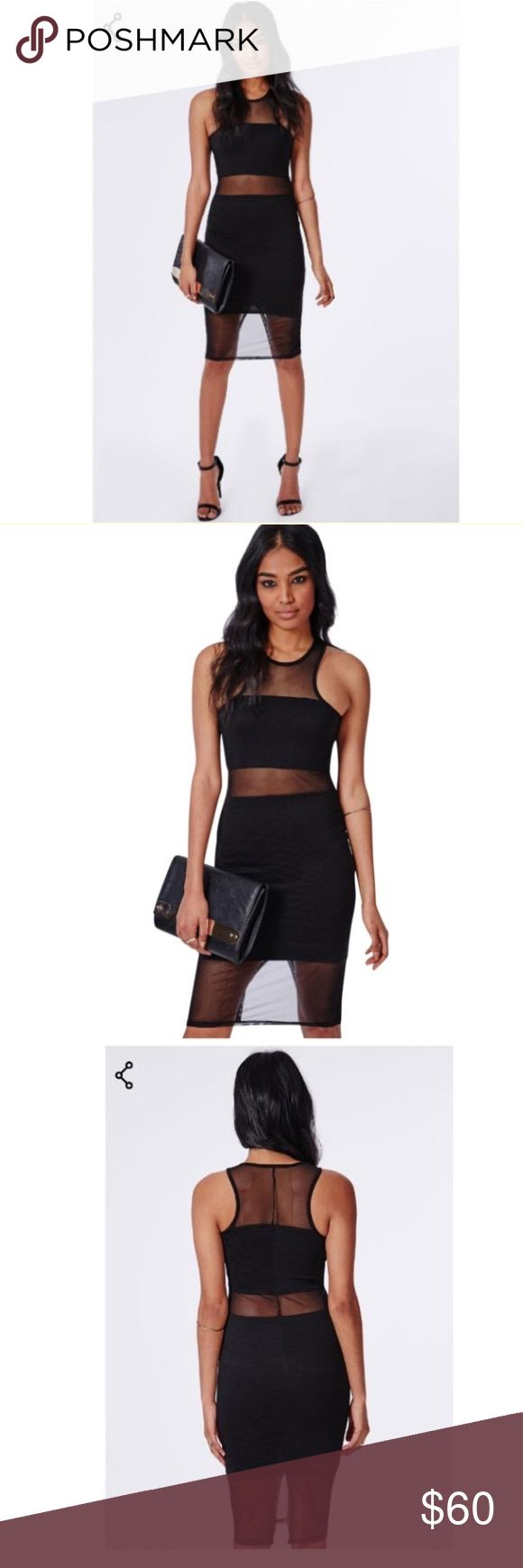 "Missguided Black Dress Missguided black dress.  NWT.  Look fierce in this ribbed midi dress with racer neckline to channel major sports luxe vibes. with mesh panel inserts to the top, waist and hem this black figure hugging bodycon is a dream. team with contrasting cobalt blue and white strappy heels and white clutch for a must-have look.    approx length 98cm/38.5""   95% polyester 5% elastane Missguided Dresses Midi"