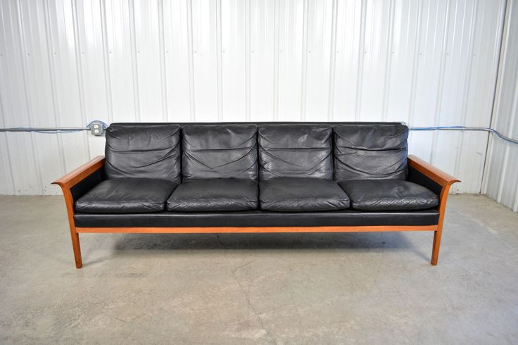 HANS OLSEN Danish Mid Century Modern Teak and Leather Sofa for - chesterfield sofa holz modern