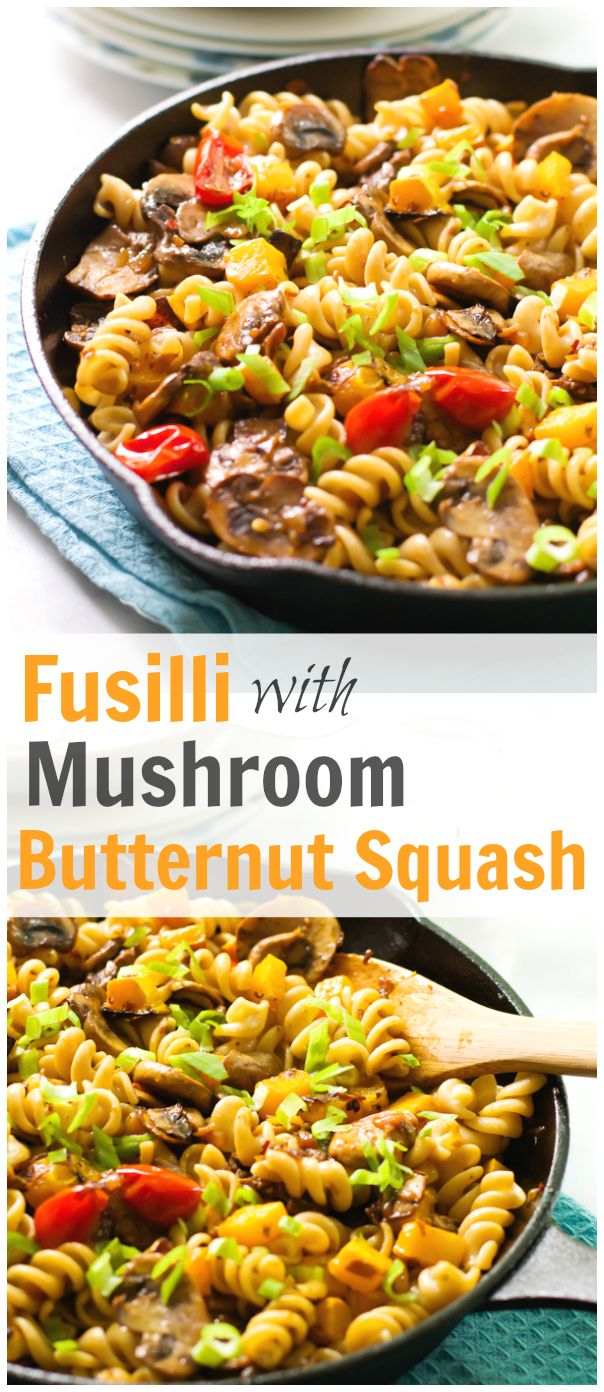 This Fusilli with Mushroom and Roasted Butternut Squash is a delicious fall recipe for you and your family enjoy for a quick dinner. Easy and delicious!! primaverakitchen.com