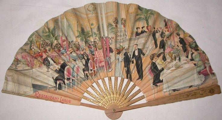 EVENTAIL 1900. RESTAURANT LARUE. SPECTACULAIRE DECOR SALLE DE RESTAURANT 1900