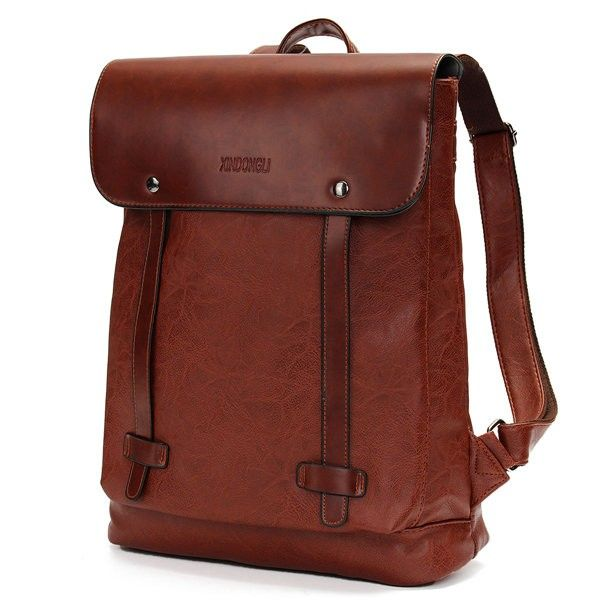 23fe77100e Bagail Men Women Vintage Backpack PU Leather Laptop bags School Bag  Shoulder Bags