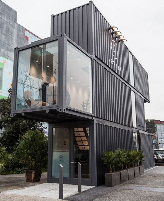Aether's flagship store in San Francisco- cargo containers + rotating clothes rack + conveyor belt check-out = way cool